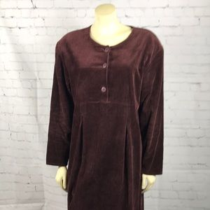 April Cornell Brown Corduroy Maxi Dress Sz Large